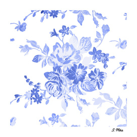 Blue Flowers - Floral Pattern Art