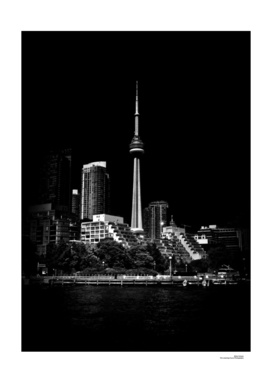 CN Tower From Bathurst Quay Toronto Canada