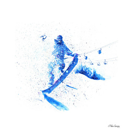 Snowboarder jumping through air at white background