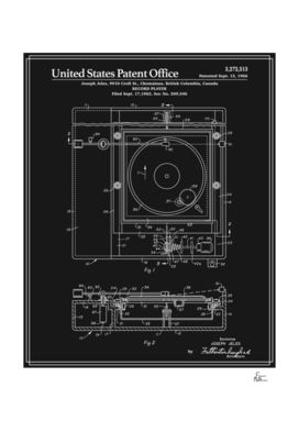 Record Player Patent - Black
