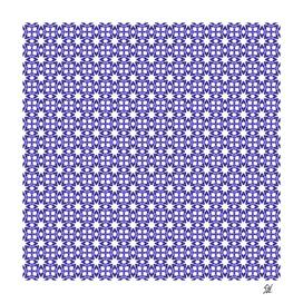 Symmetrical Starburst & Diamond Design In Denim Blue & White