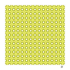Symmetrical Starburst & Diamond Design In Yellow White Green