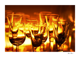 Wine Glasses in Red Gold Glow