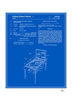 Pinball Machine Patent - Blueprint