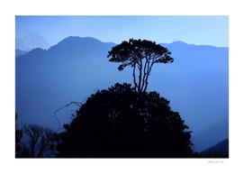 Mountain landscape - the Himalayas sunrise, Nepal