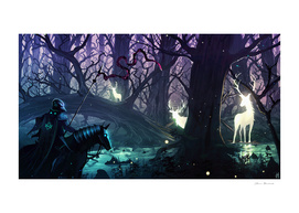 Knight and deers