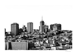 city view at San Francisco in black and white
