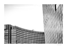 modern style buildings at Las Vegas, USA in black and white