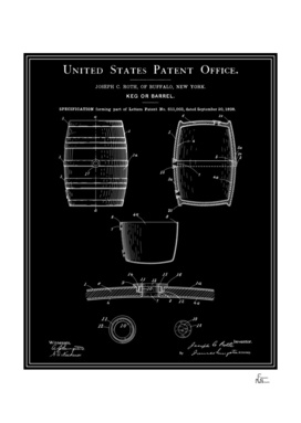 Beer Keg Patent - Black