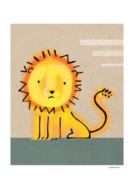 Childish lion illustration or drawing
