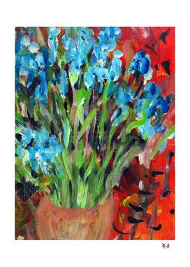 Les Iris blue flowers