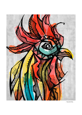 Rooster head ink drawing