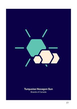 Turquoise hexagon sun