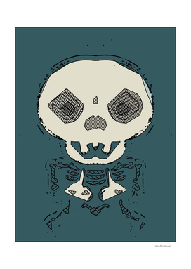 skull and bone graffiti drawing with green background