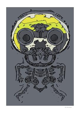 yellow skull and bone graffiti drawing with grey background