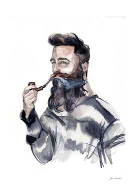 A man's portrait of a sailor with a pipe