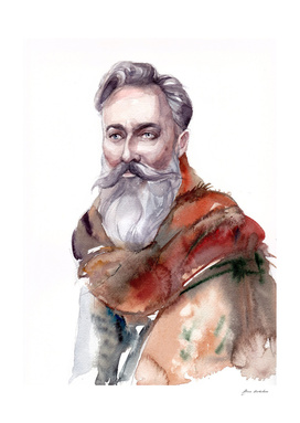 Man's portrait of a bearded man in a stole