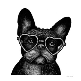 French bulldog portrait in glasses
