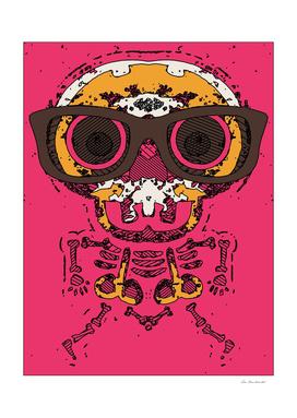 funny skull and bone graffiti drawing in orange and pink
