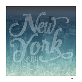 New York City typography blue edition square