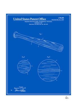 Baseball Bat Patent - Blueprint
