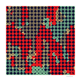 circle pattern graffiti drawing abstract in red and blue