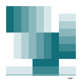 teal and White Geometric