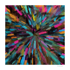 splash painting abstract in pink blue orange yellow