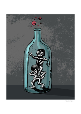 Playing skeletons in glass bottle