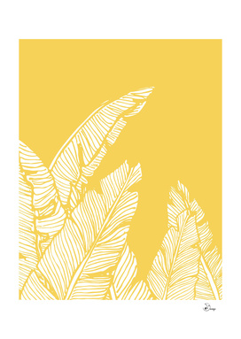 Banana Leaves on Yellow