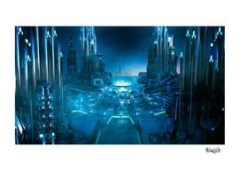 Futuristic Space City Center