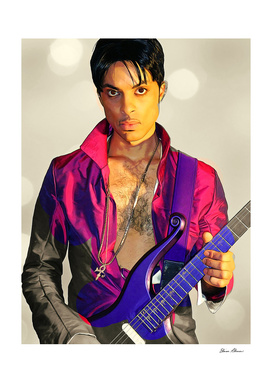 Painting of Prince with Guitar