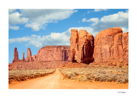 On the road through Monument Valley Panorama