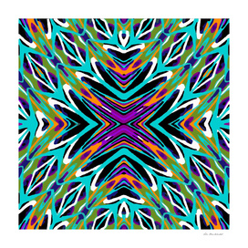 geometric graffiti abstract pattern in green blue purple
