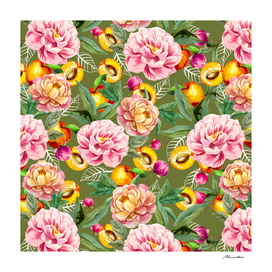 Pattern of apricot and flowers
