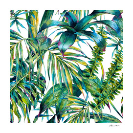 nature leaves exotic watercolor