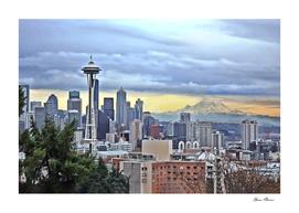 Seattle Skyline in Fog and Rain LARGE