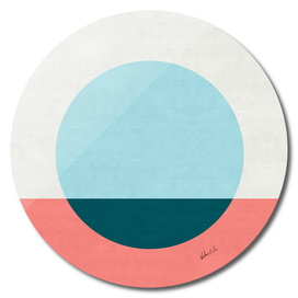Blue and pink pattern with circle