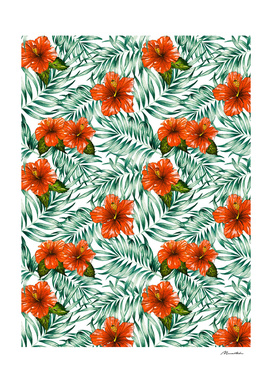 Botanical pattern with tropical flowers