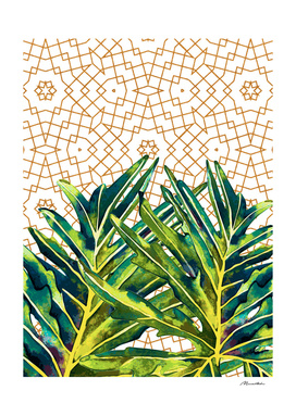 Tropical plant on ornamental background