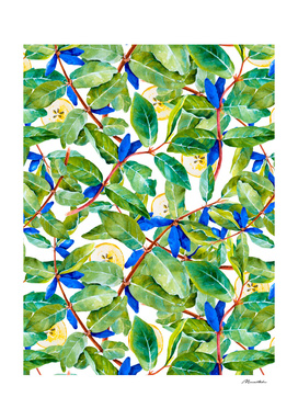 Honeysuckle pattern berries and pears