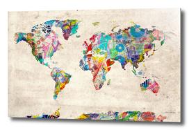 world map music collage
