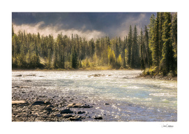 Morning fog at Athabasca river