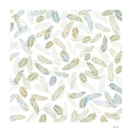Tropical Leaf Pattern - Kaki & Grey