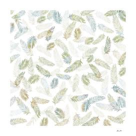Tropical Leaf Pattern - Kaki & Grey