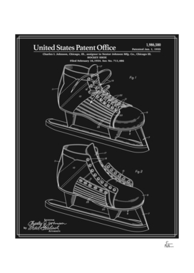 Hockey Skate Patent - Black
