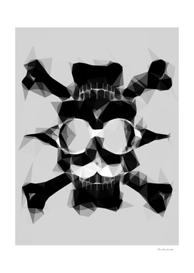 psychedelic skull art geometric pattern in black and white