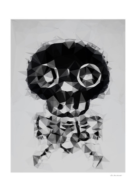 skull and bone art geometric abstract in black and white