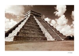 Vintage look of Mayan pyramid in Chicken Itza