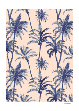 Blue Tropical Watercolor Palm Trees